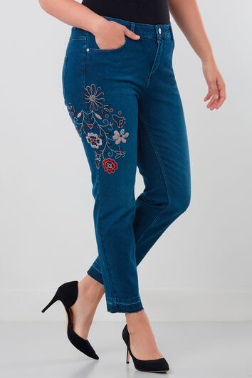 Slim leg jeans met embroidery