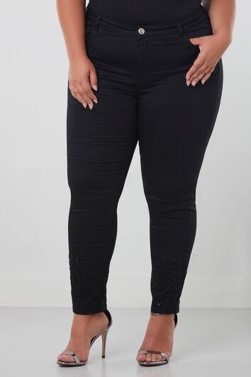 Slim leg broek met embroidery