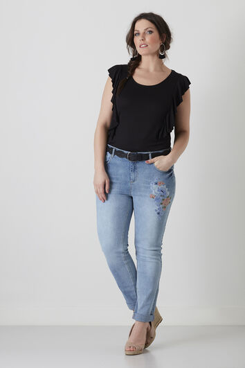 Slim leg jeans embroidery