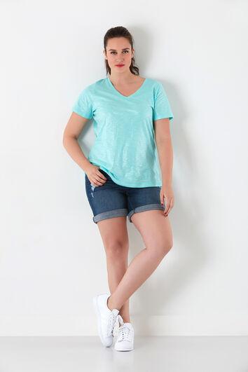 T-shirt met V-hals en glitters