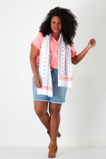 Sjaal met print en borduursels