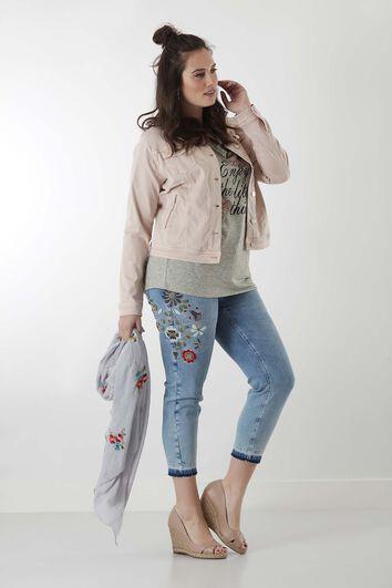 Slim leg jeans 7/8 met embrodery