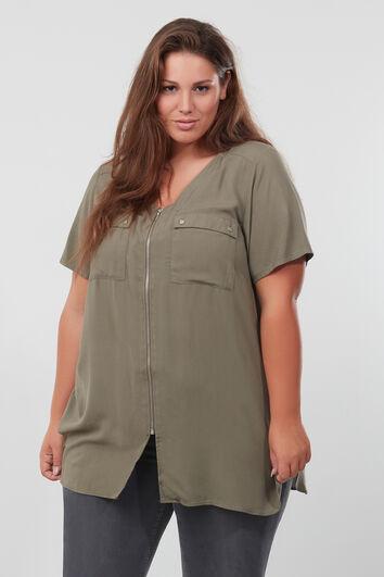 Lange blouse met korte mouw