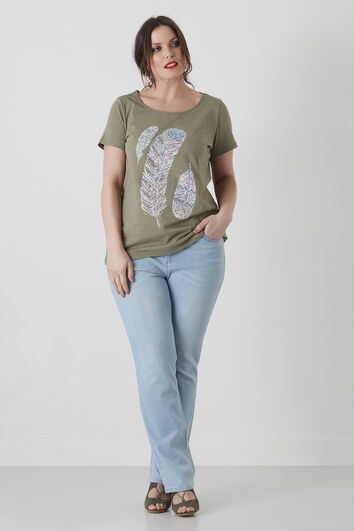 Basic T-shirt met verenprint
