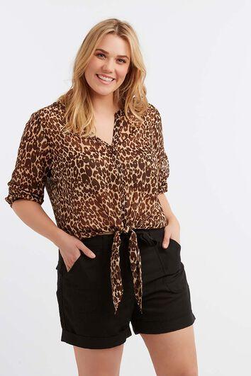 Transparante blouse met luipaardprint