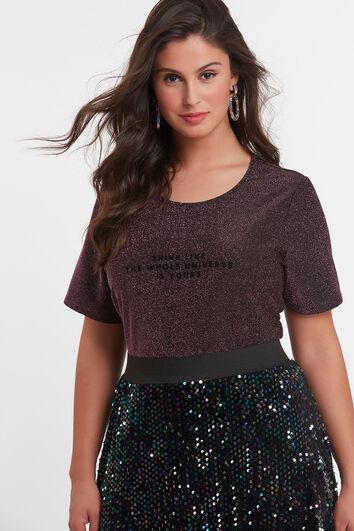 T-shirt met lurex weefsel