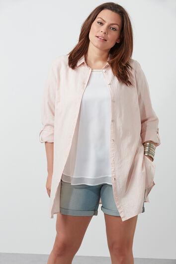 Effen blouse van linnenmix