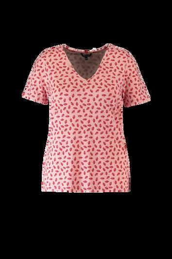 T-shirt met V-hals en lippenprint