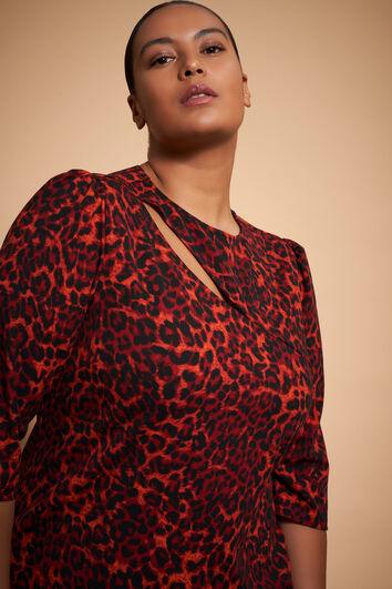 Bodycon jurk met detail en luipaard print