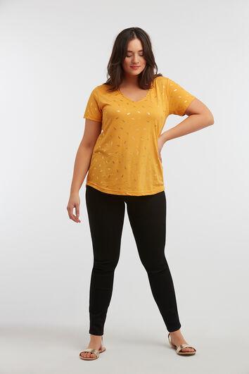 T-shirt met goudfoil opdruk