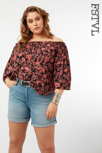 Off-shoulder blouse met printopdruk