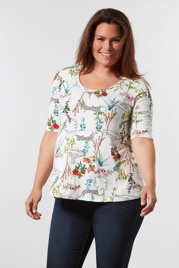 T-shirt met print en langere achterzijde