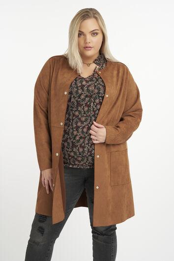 Suedine jas met ronde hals