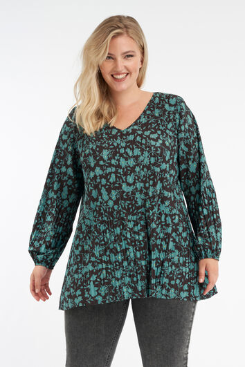 Plissé blouse met bloemenprint