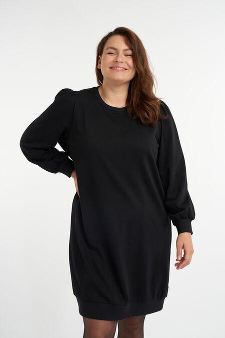 Sweater jurk met pofmouwen