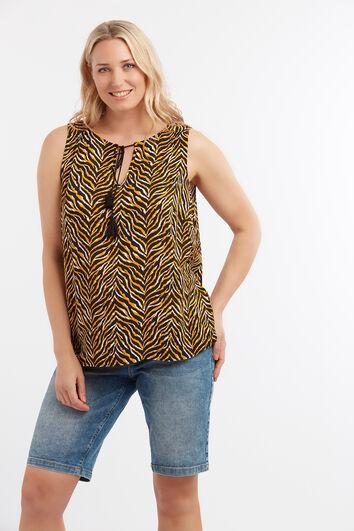 Mouwloze blouse met animalprint