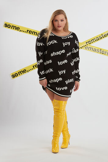 Gebreide sweater jurk met tekst