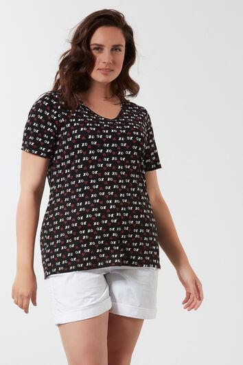 T-shirt met V-hals en all-over print