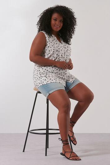 Mouwloze blouse met all-over print