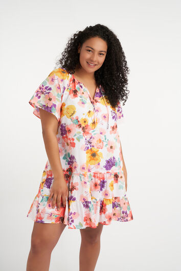 Korte uitlopende jurk met print