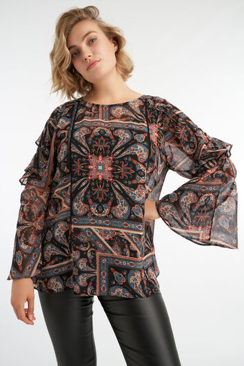 Paisley blouse met trompetmouw