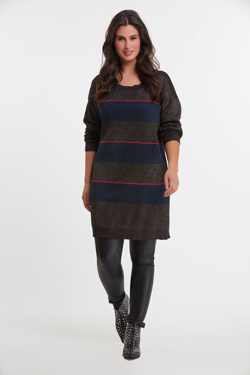 Lange gestreepte lurex trui