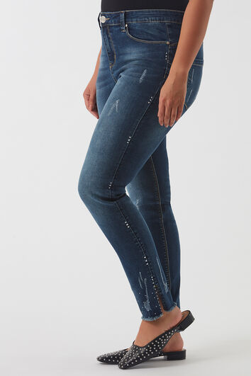 BOTTOM LIFT jeans met strass stenen
