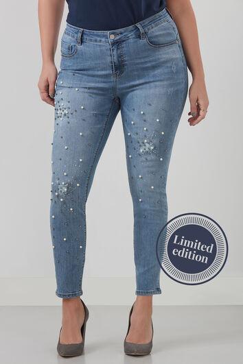 Jeans met imitatieparels