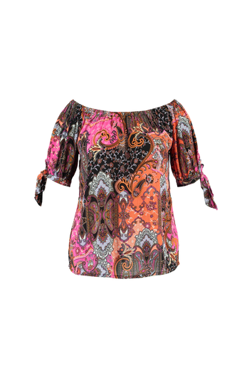 Kleurrijke off-shoulder blouse