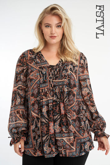 Paisley print blouse met V-hals