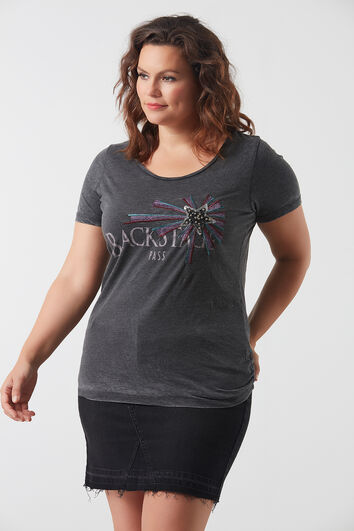 T-shirt met printopdruk en pailletten