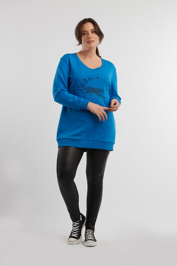 Lange sweater met embossed artwork