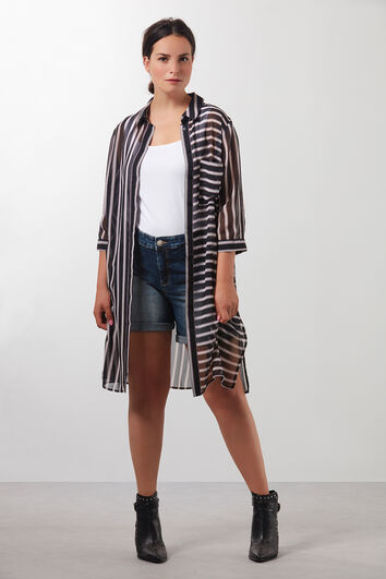 Transparante blouse met streepprint