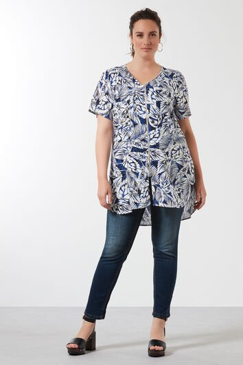 Blouse met all-over print en rits