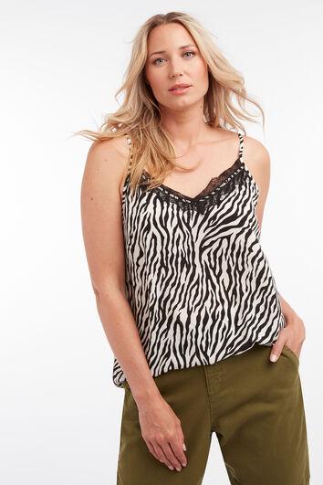 Mouwloze blouse met zebra print