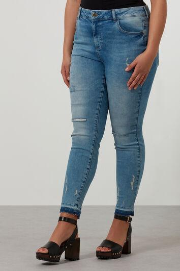 Slim leg jeans met scheuren