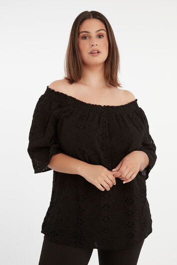 Opengewerkte off-shoulder top