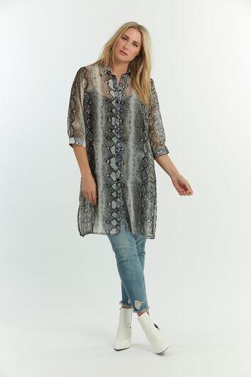 Transparante blouse met slangenprint