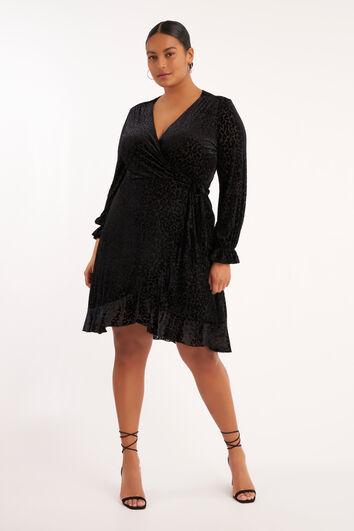 Overslag jurk met luipaardprint