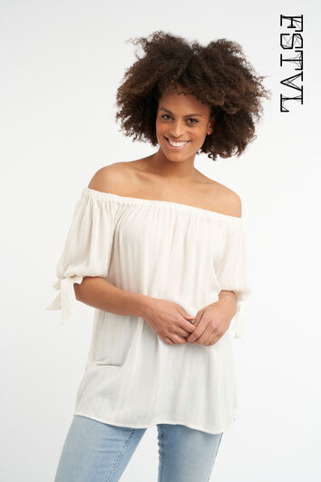 Off shoulder blouse met lurex