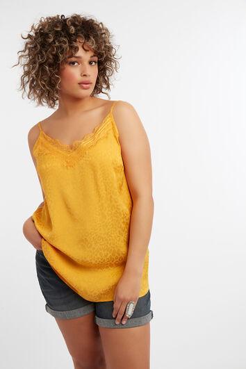 Mouwloze blouse met subtiele leopardprint