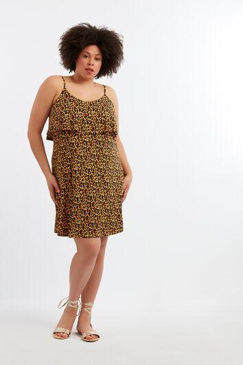 Mouwloze jurk met animalprint