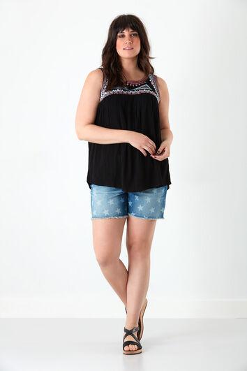 Korte spijkerbroek met print