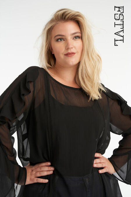 Transparante blouse met trompetmouw
