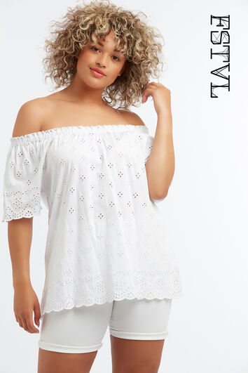Off-shoulder top met broderie