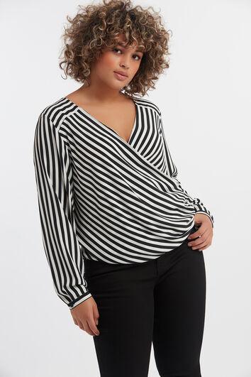 Gestreepte overslag blouse