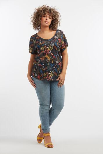 Shirt met tropische print en rugdetail