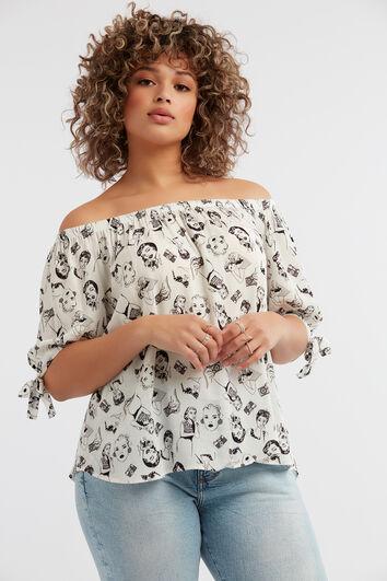 Off-shoulder blouse met print