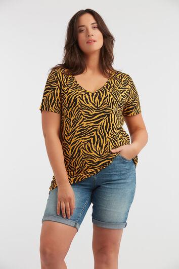 T-shirt met V-hals en zebraprint