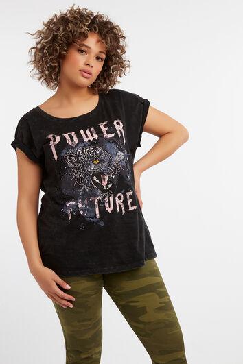 T-shirt met print en pailletmouwen